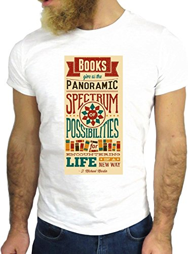T SHIRT JODE Z1472 BOOK PANORAMIC SPOSSIBILITIES VINTAGE FUN COOL FASHION NICE GGG24 BIANCA - WHITE