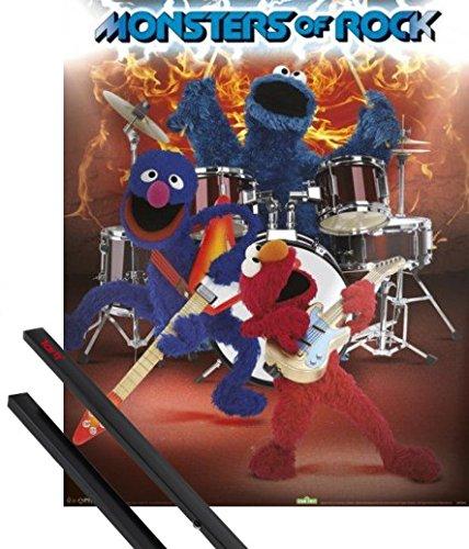 1art1 Poster + Hanger: Sesamstraße Mini-Poster (50x40 cm) Monsters of Rock Inklusive EIN Paar Posterleisten, Schwarz -