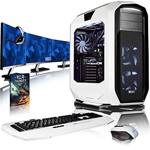 VIBOX Rapture XR760-359 Komplett-PC Paket Gaming PC - 4,0GHz i7 10-Core Prozessor, GTX 1060, leistungsfähig, Wassergekühlter Desktop Gamer Computer mit Spielgutschein, 3x Dreifach 27