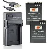 DSTE EN-EL12 Li-ion Batería (2 paquetes) Traje y cargador micro USB para Nikon Coolpix P300 P310 P330 P340 S31 S70 S610 S620 S630 S640 S800c
