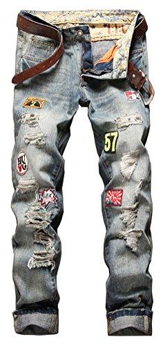 #SMITHROAD Herrenjeans DESTROYED ZERRISSEN Jeanshose Slim Fit Verwaschen Bikerjeans Clubwear Wappen Applikationen für Männer Jungen Gr.33#