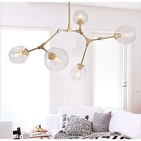 CAC Lindsey Adelman Globo burbuja ramificación Candelabro 110v 220v araña moderna iluminación de luz,de oro,3 luz de cristal claro
