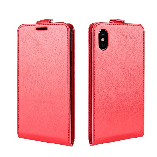 Wkae Verrückte Pferd Textur Vertikale Flip Leder Tasche mit Card Slot & Foto Frame, Für iPhone X ( Color : Black ) Red