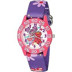 eWatchFactory Girl's 'Sesame Street' Quartz Plastic and Nylon Automatic Watch, Color:Purple (Model: W003193)
