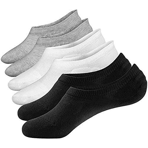 Aisprts calzini fantasmini uomo, sneaker calze invisibili in cotone, calze corti traspirante sportive con taglio basso (3 pairs(1black+1grey+1white))