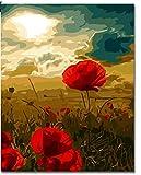 Superlucky Rote Digitale Blumenbilder zum Malen nach Zahlen Leinwand Kunst DIY handgemalte Wandmalerei für Wohnzimmer Geschenk gerahmt 40x50 cm