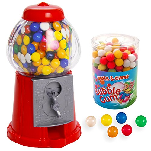 DISTRIBUTORE CARAMELLE + 500 gr di GOMME DA MASTICARE COLORATE - Salvadanaio dispenser rosso Chewing Gum sfere palline colorate