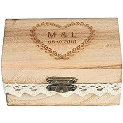 Caja para alianzas grabada, rústica, de madera envejecida y detalle de encaje, personalizable
