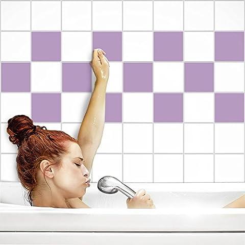 Fliesenaufkleber für Küche und Bad | Fliesenfolie für 20x25cm Fliesen | einfarbig flieder matt | 8 Stück | Klebefliesen günstig in 1A Qualität von PrintYourHome
