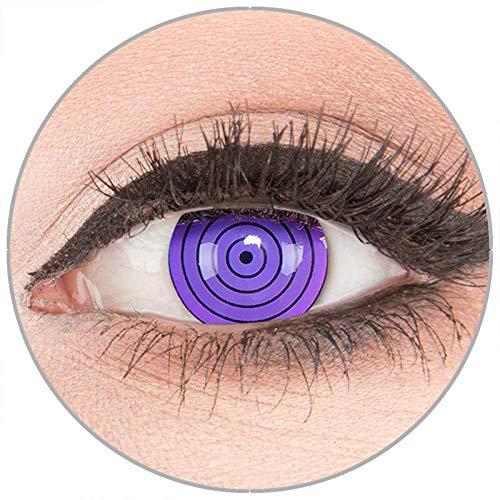 Farbige Kontaktlinsen zu Fasching Karneval Halloween in Topqualität von 'Glamlens' ohne Stärke 1 Paar Crazy Fun violette 'Violet Rinnegan' mit ()