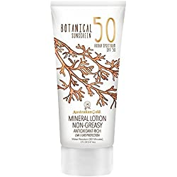 SPF 50 , Mineral Lotion : Australian Gold Botanical Sunscreen SPF 50 Mineral Lotion, 5 Fl Oz