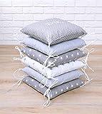 Amilian® Baby Nestchen Bettumrandung 210 cm Design46 mit Namen und Datum bestickt Bettnestchen Kantenschutz Kopfschutz für Babybett Bettausstattung