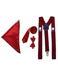 "Men's Braces, Bow Tie, 2"" Slim Tie and Pocket Square Hanky (Various Colours)"