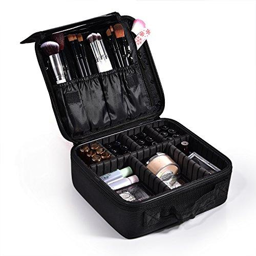 Joligrace Oxford Fabric Makeup Bag Cosmetic Case Beauty Box Hairdressing Tools Organiser Storage Box (Mini Size: 26x23x9.5cm, Black)