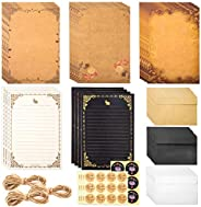 WXJ13 126 Pieces Vintage Letter Writing Paper and Envelopes Set, 40 Sheets of Old Stationary Letter Paper, 32