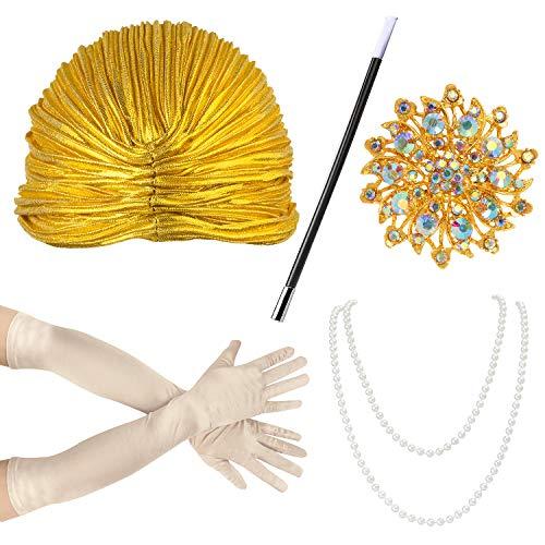Beefunny Damen Princess Indian Plissee Hut Turban mit Kristall Blume Dunkelgold, Turban Hut für Damen Turban Hut mit Abnehmbarer Kristall Brosche Crystal Head Wrap (Gold)
