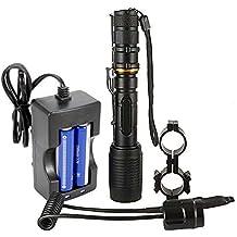 MakeTheOne Torcia LED Fuoco Regolabile torcia Bianco Super Luminosa Risparmio Energetico Nero per Caccia Campeggio Escursione (Kit Torcia USB Integrato)