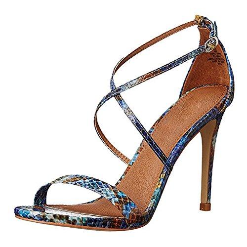 Damen Open Freie Toe Sandalen High-Heel Stiletto Criss Cross Schnalle Snakeblau