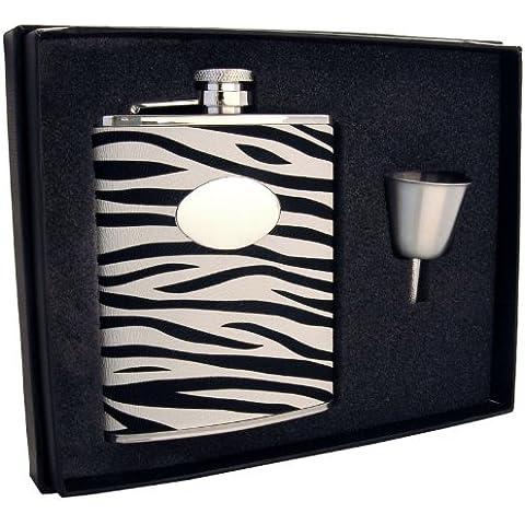 Visol Zebra Leather Stainless Steel Liquor Hip Flask Gift Set, 6-Ounce, Black and White by Visol - Liquor Flask Gift Set