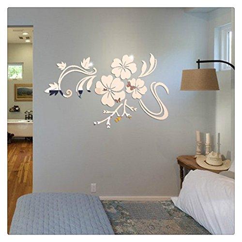 zolimx 3D Espejo Vinilo removible flor pared pegatina Home Decor (plata)