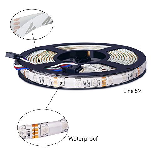 ALED-LIGHT-Tira-de-Luz-Impermeable-IP65-LED-Strip-RGB-5M-5050-SMD-Cinta-LED-300-60-LEDMetro-44-Mando-a-Distancia-Clave-Adaptador-de-Corriente-12V-5A-Receptor-Descripcin-del-Producto
