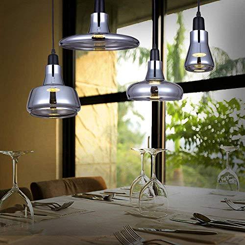 Bernstein Glas-modell (W-LI Grau Rauchglas Pendent Lampe 110-240 v E27 Decke Klarem Bernstein Glas Lichter Nordic Küche Leuchte Hängelampe)