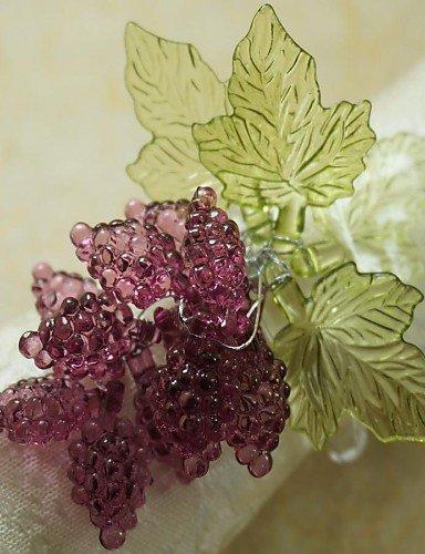 FPP foglia con anello di tovagliolo uva Natale, acrilico, 1.77inch, set di 12