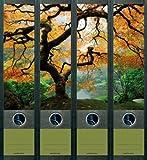 4er Set Ordnerrücken für breite Ordner Ahornbaum Baum Herbst Ordner