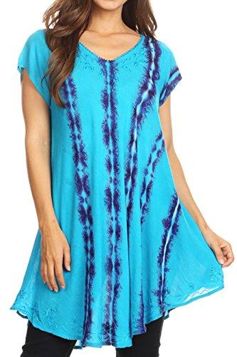 Sakkas 18702 - Maite Damen Tie Dye V-Ausschnitt Tunika Top Ethnic Summer Style Flowy w/Pailletten - Türkis - OSP - Tie-dye-tunika