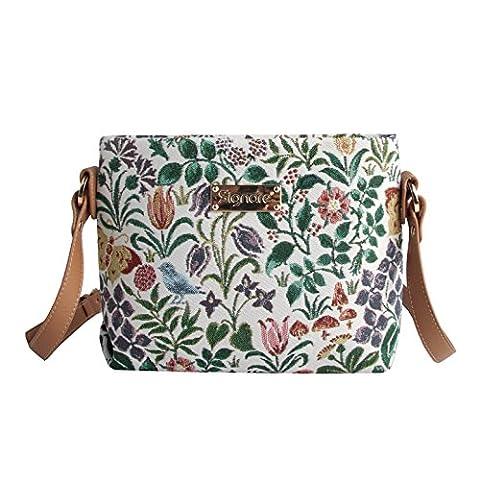 Modische Tapisserie Damen Schultertasche, Bodybag oder Messengertasche in Signare Blumen