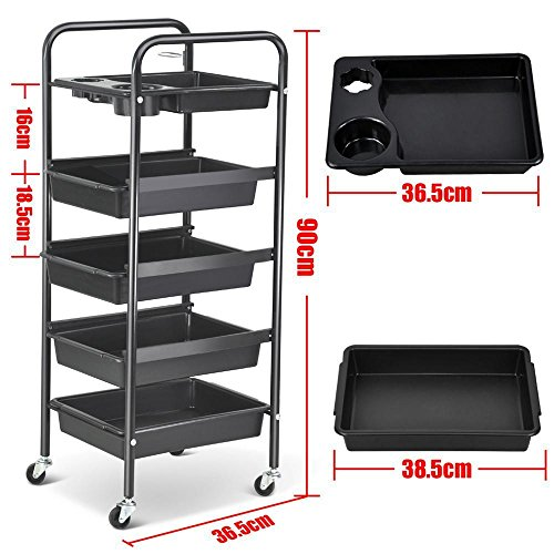 Pro 5 Drawers Tiers Multifunctional Trolley Hair Salon Storage Tray Hairdressing Beauty Makeup Cart Black Secret Santa