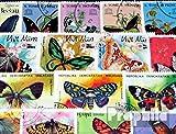 Prophila Collection Motive 100 verschiedene Schmetterlinge Marken (Briefmarken für Sammler) Schmetterlinge