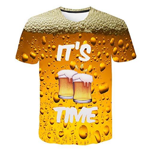 NSDX Herren 3D T-Shirt Bier Druck 3D T Shirt Es Ist Zeit Brief Frauen Männer Lustige Neuheit T-Shirt Kurzarm Tops Unisex Outfit Kleidung (Frauen Outfits Lustige Für)