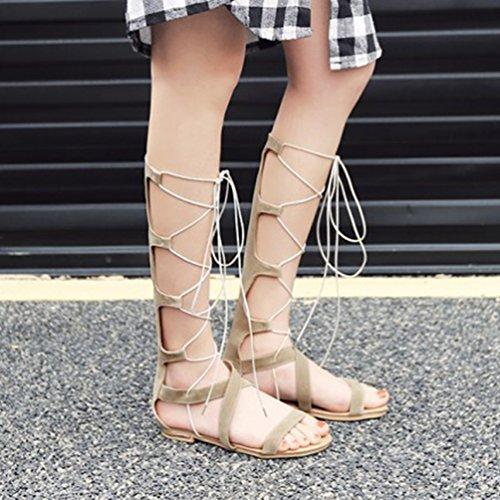 YOUJIA Femmes Hauteur Genou Lanières Flat Eté Gladiateur Bottes Romain Lacets Sandale #4 Beige