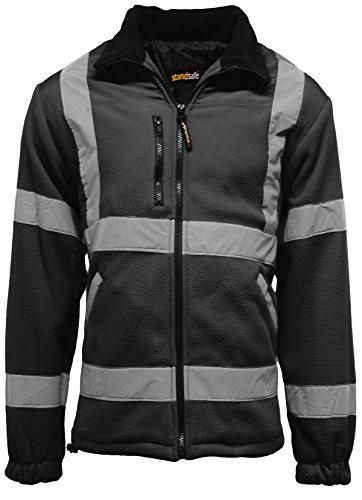 Chaqueta de trabajo reflectante para hombre, de alta visibilidad, de forro polar, Hombre, color negro, tamaño Medium