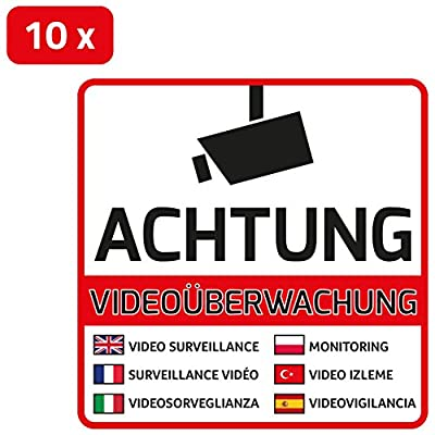 10 Videoüberwachung Aufkleber 7-sprachig - Aufkleber Videoüberwachung (10 Stück) vorgestanzt für Innen & Außen mit UV Schutz, witterungsbeständig, selbstklebend -Videoüberwachung Mehrsprachig - Videoüberwachung Schild überkleben / Sticker / Kamea / Kamera