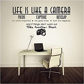 Life Is Like a Camera Quotes and Sayings Lettering Removable Wall Stickers Wall Decor Home Decor Wall Art Kids Room Bedroom Decor Living Room Decor Sofa TV Background DIY Art Decals by AWAKINK
