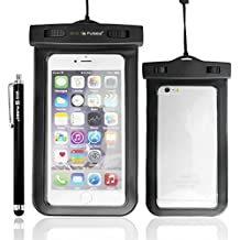 Funda Impermeable con IPX8 Certificate for iPhone 6 Plus – Compatible con Dispositivos Up to 6.2 x 3.1 Inches incluyendo Samsung Galaxy Note 4, 3, 2; S5, S4, S3; Apple iPhone 5, 5S, 5C, 4; HTC; Motorola; and Other Smartphones / Also Includes 1 Stylus Pen and 1 ECO-FUSED Pañno de Microfibra para limpiar (Negro)