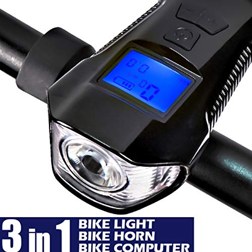 luoshui Bike Light USB wiederaufladbare Taschenlampe für das Fahrrad mit Fahrrad-Computer-Tachometer Odometer Fahrrad Light Loud Horn Bell - Horn Wiederaufladbare Bike