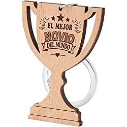 """Dawanza - Regalos Navidad Llavero de Madera Natural del Trofeo - Grabado """"EL MEJOR NOVIO DEL MUNDO"""" - Regalo Original para Novio"""
