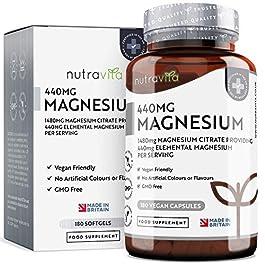 Magnesio Citrato 1480mg con 440mg di Magnesio Puro Elementare per Dose – 180 Capsule Vegane – Fornitura da 90 Giorni…