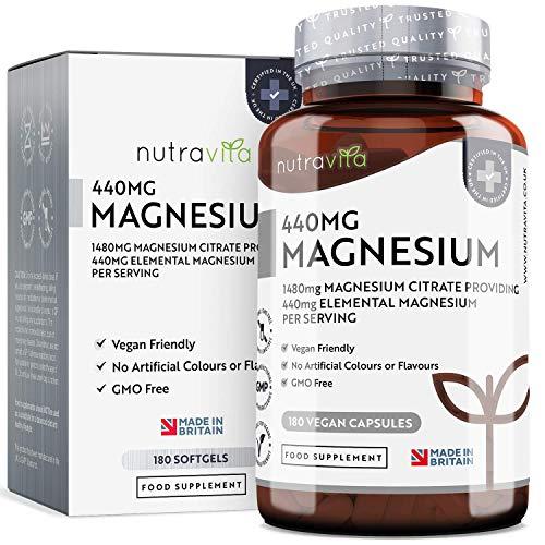 Magnesio Citrato 1480mg con 440mg di Magnesio Puro Elementare per Dose | 180 Capsule Vegane | Scorta da 90 Giorni | Integratore di Magnesio Prodotto nel Regno Unito da Nutravita