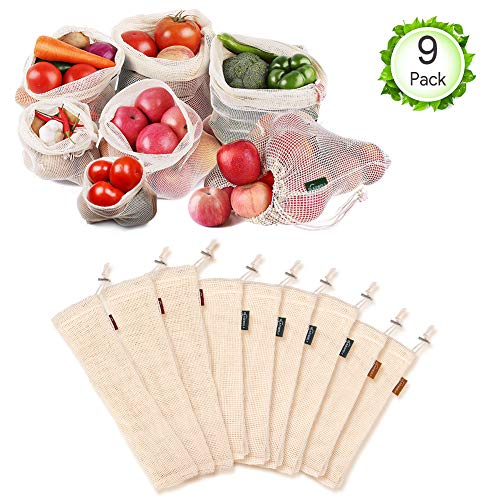Oladwolf Gemüsebeutel Wiederverwendbar, 9er Set Obst und Gemüse Beutel Zero-Waste Plastikfrei, Gemüsenetz 100% Bio Baumwolle Waschbar und Atmungsaktiv Ohne BPA - Einfach Bio-feuchtigkeit
