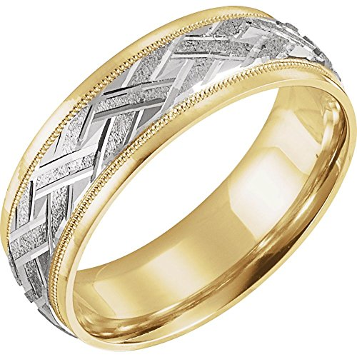 white-and-yellow-gold bicolor Woven Pattern Comfort Fit Band Modell 0bbxnt7