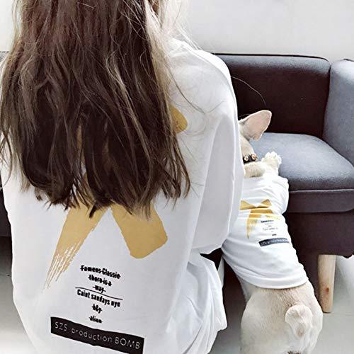 DOGCATMM Hund Kleidung Für Kleine Hunde Passende Kleidung Für Hunde T-Shirt Für Bulldog Kleidung Pet Eltern-Kind Haustier Hund Kostüm - Eltern Kostüm