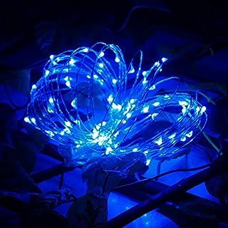 Asdomo Lichterkette, 100LEDs, 10m, Solar, Kupferdraht, Umgebungslicht, für Garten, Terrasse, Zuhause, Hochzeit, Weihnachtsparty, blau, S