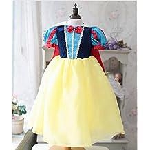 Fille pour fille Snow Princess Puff à manches courtes Costume de déguisement Cosplay Halloween fête d'anniversaire Robe Déguisement