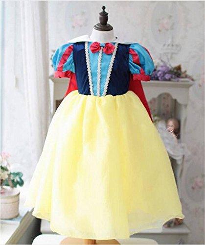Mädchen Girl 's Snow Princess Puff Short Sleeve Dress Kostüm cosplay Halloween Geburtstag Party Kleid Fancy ()