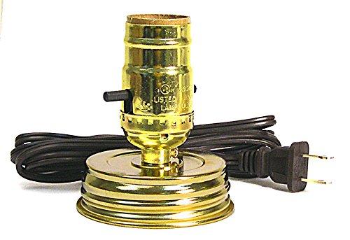 Creative Hobbies Mason Jar Lampen Kit ist vorverdrahtet und einfach zu bedienen. Deckel und Steckdose goldfarben