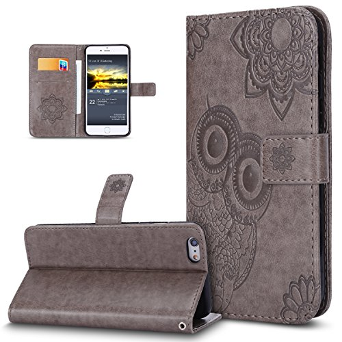 Custodia iPhone 6S Plus,Custodia iPhone 6 Plus,ikasus® iPhone 6S Plus / 6 Plus Custodia Cover [PU Leather] [Shock-Absorption] Protettiva Portafoglio Cover Custodia 3D rilievo Embossed rilievo Henna Ma Grigio